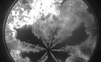 black and white image of diesel combustion as recorded with a dicam pro MCP image intensifier camera